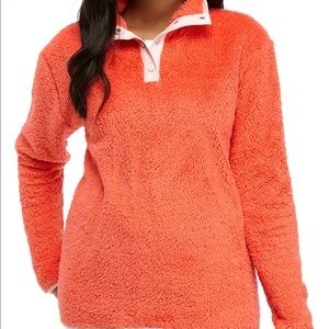 Crown & Ivy Orange/Pink Sherpa Long Sleeve Popover